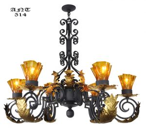 Gothic Style Antique 6 Arm Black Iron Steel Chandelier w/ Gold Detail (ANT-514)