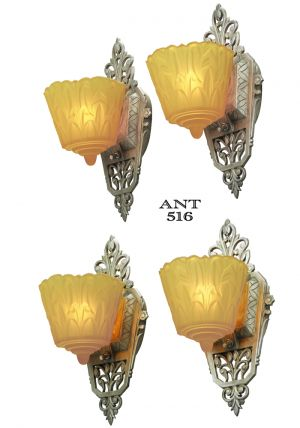 Art Deco Original Set of 4 Slip Shade Wall Sconces Lights by Lincoln (ANT-516)