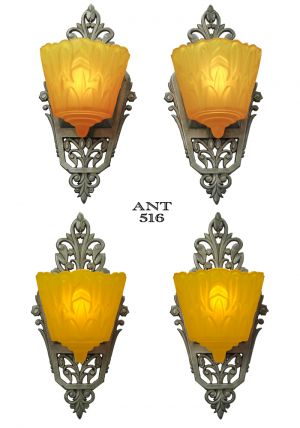 Art-Deco-Original-Set-of-4-Slip-Shade-Wall-Sconces-Lights-by-Lincoln-(ANT-516)