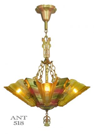 Art Deco Antique Chandelier with Slip Shades by Frankelite Circa 1933 (ANT-518)