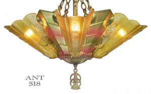 Art-Deco-Antique-Chandelier-with-Slip-Shades-by-Frankelite-Circa-1933-(ANT-518)