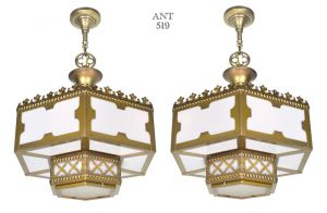 Gothic or Arts and Crafts Style Pair of White Glass Panel Chandeliers (ANT-519)
