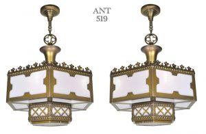 Gothic-or-Arts-and-Crafts-Style-Pair-of-White-Glass-Panel-Chandeliers-(ANT-519)