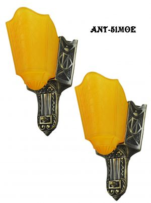 Pair of Deco slip shade sconces by Moe Bridges (ANT-51MOE)