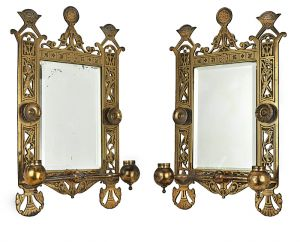 Eastlake Victorian Pair of Antique Candle Sconces w/ Beveled Mirrors (ANT-524)