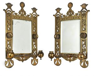 Eastlake-Victorian-Pair-of-Antique-Candle-Sconces-w/-Beveled-Mirrors-(ANT-524)