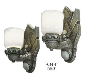Art Deco - Pair of Restored Depression Era Wall Sconces Circa 1930s (ANT-527)