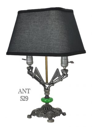 Art Deco Table Lamp with Two Lights Double Socket Antique Desk Light (ANT-529)