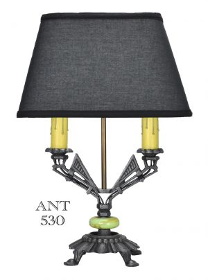 Art-Deco-Table-Lamp-with-Two-Candle-Tube-Lights-Antique-Desk-Light-(ANT-530)
