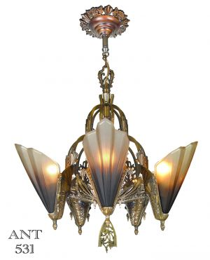 Art Deco Slip Shade Antique 5 Light Chandelier by Mid West Mnf 1935 (ANT-531)