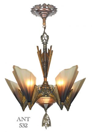 Art-Deco-Six-Light-Soleure-Chandelier-by-Mid-West-Mnf-Solid-Bronze-(ANT-532)