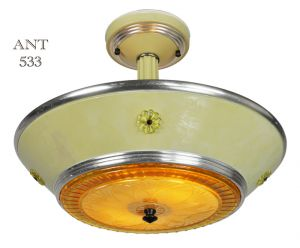 Art Deco Streamline Style Semi Flush Mount Ceiling Bowl Light Fixture (ANT-533)