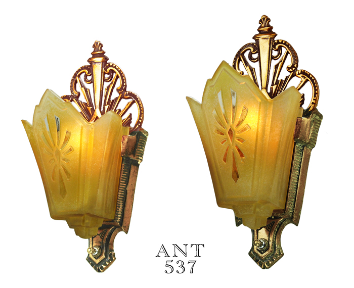 Vintage Hardware & Lighting - Art Deco Antique Wall Sconces w/ Amber ...