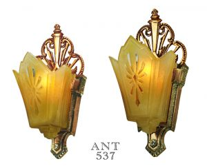 Art Deco Antique Wall Sconces w/ Amber Color Slip Shades 1930s Lights (ANT-537)