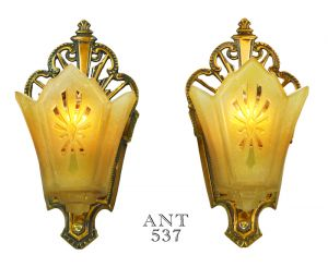 Art-Deco-Antique-Wall-Sconces-w/-Amber-Color-Slip-Shades-1930s-Lights-(ANT-537)