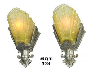 Art-Deco-Pair-of-Amber-Pewter-Color-Slip-Shade-Wall-Sconces-by-Virden-(ANT-538)