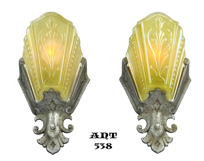 Vintage Hardware & Lighting - Art Deco Pair of Amber Pewter Color ...