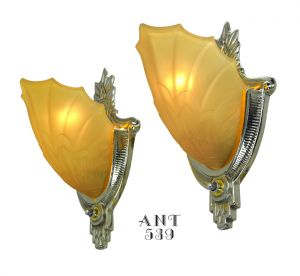 Art Deco Wall Sconces by Globe Lighting with Amber Color Slip Shades (ANT-539)