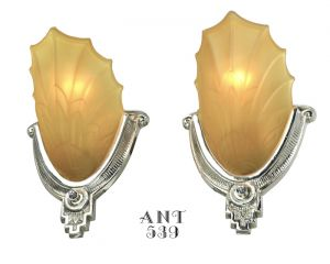 Art-Deco-Wall-Sconces-by-Globe-Lighting-with-Amber-Color-Slip-Shades-(ANT-539)