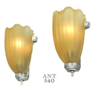 Streamline Art Deco Lighting Slip Shade Wall Sconces Circa Mid 1930s (ANT-540)