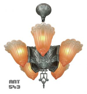 Art-Deco-Antique-5-Light-Slip-Shade-Ceiling-Chandelier-by-Linoln-(ANT-543)