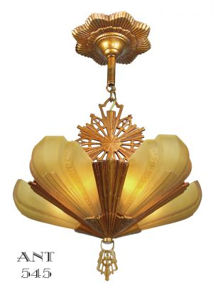 Art-Deco-Amber-Slip-Shade-1930s-Old-Gold-Color-Chandelier-by-Virden-(ANT-545)