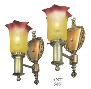 Edwardian Antique Wall Sconces Pair w/ Amberina Style Painted Shades (ANT-546)