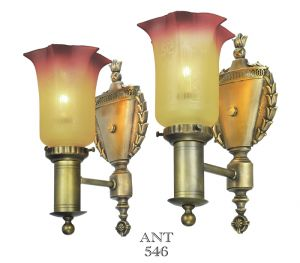 Edwardian-Antique-Wall-Sconces-Pair-w/-Amberina-Style-Painted-Shades-(ANT-546)