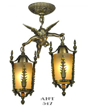 Victorian-Style-Angel-Cherub-Cupid-Two-Light-Ceiling-Pendant-Rococo-(ANT-547)