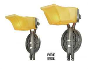 Art Deco Pair of Streamline Early Modern 30s Wall Sconces by Markel (ANT-551)