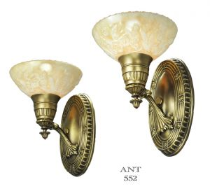 Art Deco Pair of Antique Brass Sconces Circa 1920s - 1930s American (ANT-552)