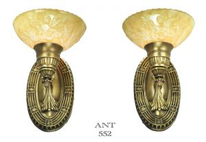 Art-Deco-Pair-of-Antique-Brass-Sconces-Circa-1920s---1930s-American-(ANT-552)
