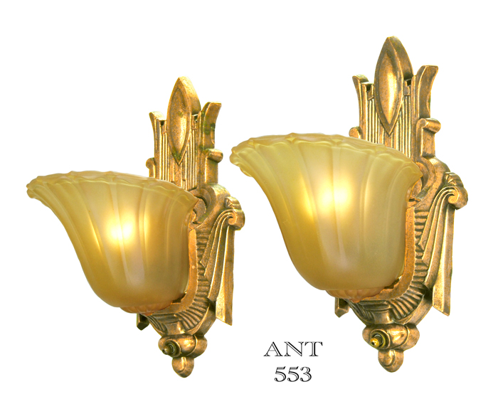Vintage Hardware & Lighting - Art Deco Antique Slip Shade Wall Sconces Old Gold Finish Lights ...