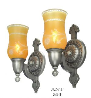 Edwardian Style Wall Sconces Circa 1920s to 1930s Pair Antique Lights (ANT-554)