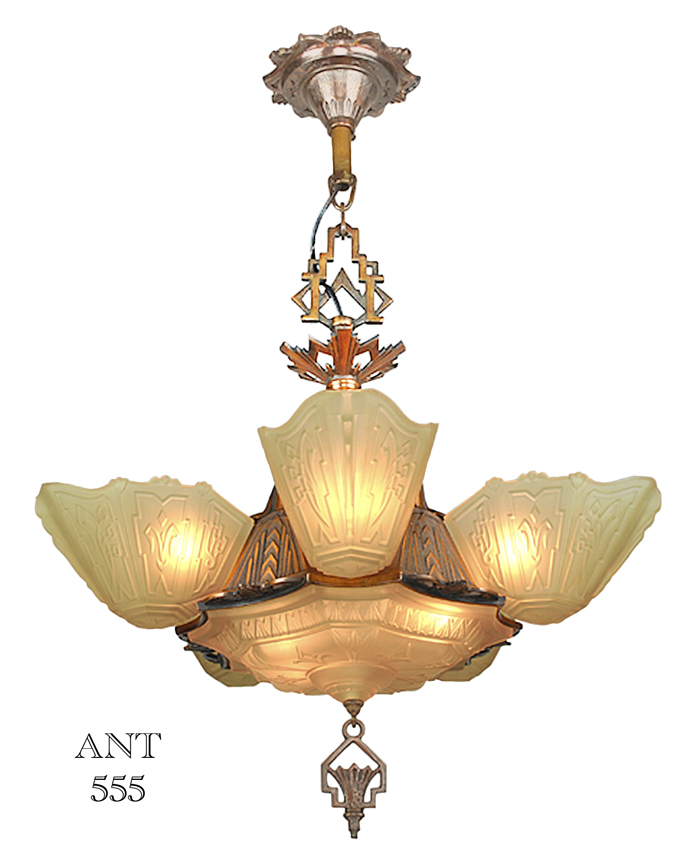 Art Deco Antique 1930s Chandelier With Slip Shades By Markel Lighting Ant 555