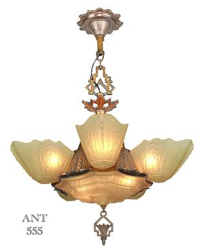 Art Deco Antique 1930s Chandelier with Slip Shades by Markel Lighting (ANT-555)