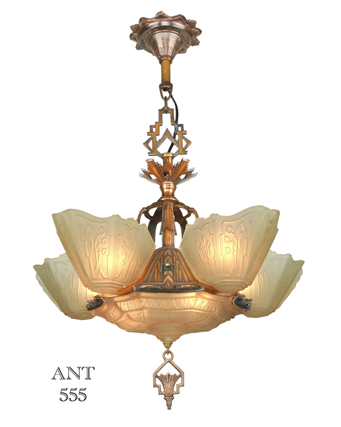 Vintage hardware lighting art deco antique 1930s chandelier with vintage hardware lighting art deco antique 1930s chandelier with slip shades by markel lighting ant 555 mozeypictures Gallery