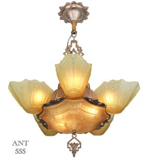Art-Deco-Antique-1930s-Chandelier-with-Slip-Shades-by-Markel-Lighting-(ANT-555)