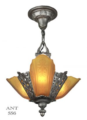 Art Deco Ceiling Pendant Three Light Small Chandelier by Moe Bridges (ANT-556)