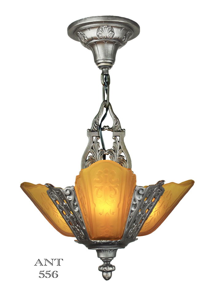 Art Deco Ceiling Pendant Three Light Small Chandelier By