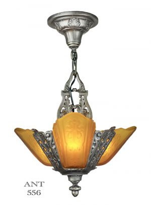 Art-Deco-Ceiling-Pendant-Three-Light-Small-Chandelier-by-Moe-Bridges-(ANT-556)