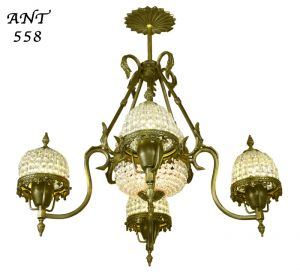 Crystal-Basket-Style-Antique-French-Chandelier-4-Arm-Ceiling-Light-(ANT-558)