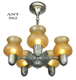 Art-Deco-1930s-Pewter-Color-5-Light-Ceiling-Chandelier-Amber-Shades-(ANT-562)