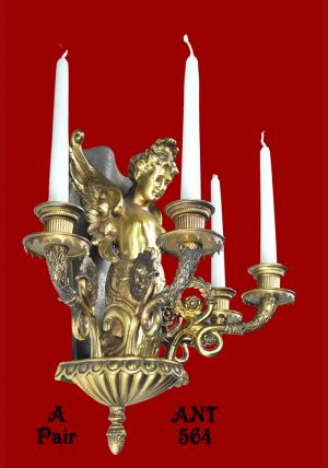 Victorian-Rococo-French-Candle-Wall-Sconces-Holders-with-Angel-Figure-(ANT-564)