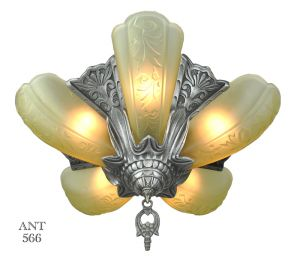 Art-Deco-American-5-Light-Slip-Shade-Chandelier-Globe-Lighting-1930s-(ANT-566)