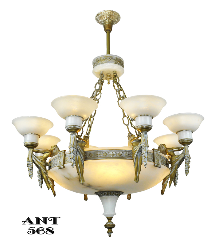 Vintage Hardware & Lighting - Art Deco Grand Alabaster Bowl Chandelier  Antique Eight Light Fixture (ANT-568) - Vintage Hardware & Lighting - Art Deco Grand Alabaster Bowl