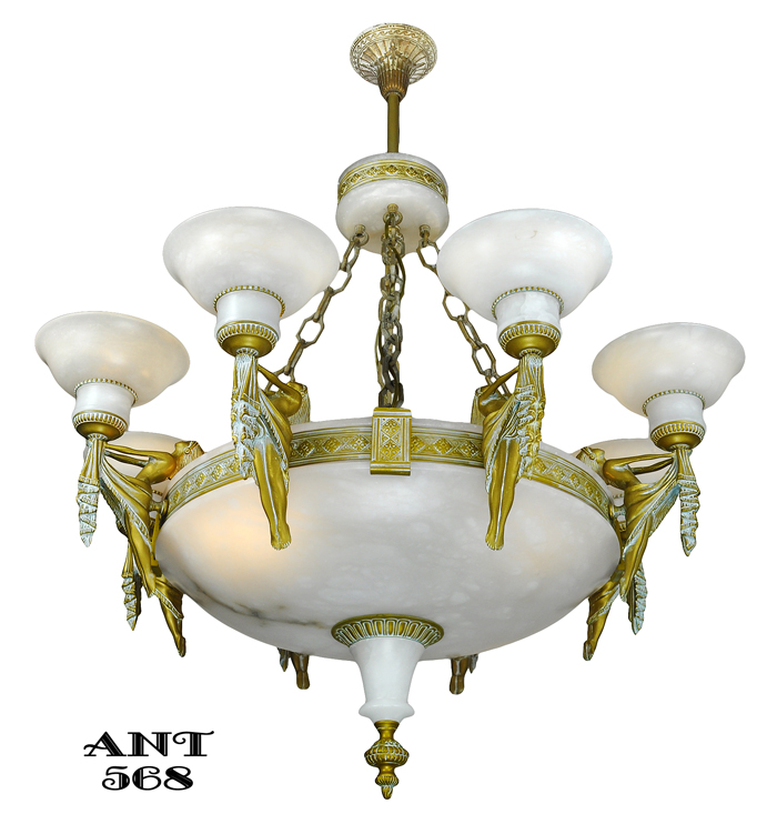 Vintage hardware lighting art deco grand alabaster bowl vintage hardware lighting art deco grand alabaster bowl chandelier antique eight light fixture ant 568 aloadofball Image collections