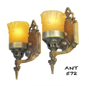 Art Deco or Arts and Crafts Wall Sconces Antique Pair Lights Fixtures (ANT-572)