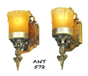 Art-Deco-or-Arts-and-Crafts-Wall-Sconces-Antique-Pair-Lights-Fixtures-(ANT-572)