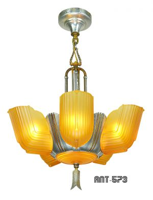 Art Deco Streamline Slip Shade 6 Light Antique Chandelier by Lincoln (ANT-573)